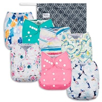(7 Pack, Sea'N Stars) - Sea'N Stars Baby Cloth Pocket Nappies 7 Pack, 7 Bamboo Inserts, 1 Wet Bag by Nora's Nursery