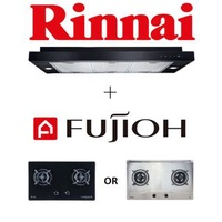 RINNAI RH-S329-PBR 90CM SLIMLINE HOOD WITH TOUCH CONTROL + FUJIOH FH-GS5520 2 BURNER HOB WITH SAFETY DEVICE