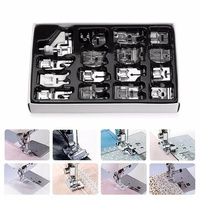 KCASA 16Pcs Domestic Sewing Machine Presser Foot Feet Kit Set Hem Foot Spare Parts Accessories With Box For Brother Singer Janom
