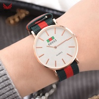 ☪HL♬ Korean Fashion Casual Quartz Wrist Watch Canvas Strap Stripe Band Alloy Case Classic Couple Wat