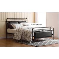 【Eze Art Deco】美國設計師傢飾,美式復古仿皮金屬床架,雙人床架.1.8加大雙人床架,可拆裝,鐵床架