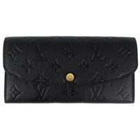 Louis Vuitton LV M62369 EMILIE 經典花紋全皮革壓紋扣式長夾.黑_預購