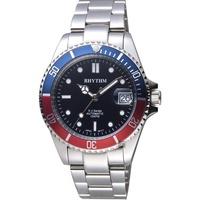 【RHYTHM 麗聲】Sport 100米機械手錶-藍x紅圈/40mm(RA1602S06)