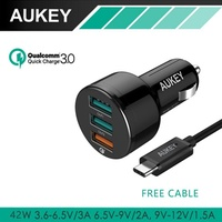 Aukey CC-T11 Qualcomm Quick-Charge 3.0 3 Ports USB Car Charger Adapter 42W for Samsung S7 Edge Note5