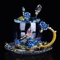 放心品質 優質重磅琺瑯彩水杯耐熱玻璃杯女花茶杯玫瑰花茶杯家用杯子套裝大創意禮物