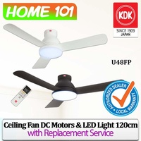 KDK DC Motor Ceiling Fan with LED Light & Remote Control 120cm U48FP (With Replacement)
