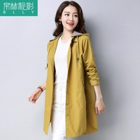 Bo lin Photo Trench Coat Female Mid-length Korean Style Spring 2019 New Style Loose Leisure Pure Cotton Hooded Coat Thin