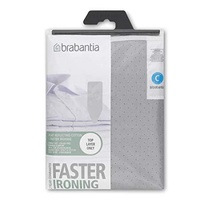 BRABANTIA Ironing Board Cover C 124x45cm Cotton 2mm Foam Metalised Silver