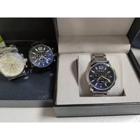 Montblanc萬寶龍男士手錶 真三眼 日曆男款手錶 商務石英腕錶 實心鋼帶