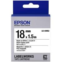 【EPSON】標籤機色帶磁鐵系列白底黑字/18mm(LK-5WB2)