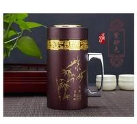 紫砂內膽保溫杯男女帶手柄商務便攜養生水杯子紫砂茶杯【限時特惠】