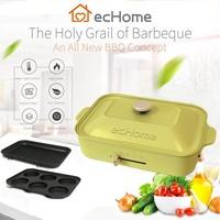 EcHome 1200 W Multi - Functional Compact จานร้อน Pancake & Griddle ชุดกระทะ OLIVE สีเขียว