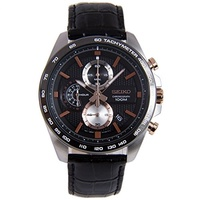 (Seiko Watches) Seiko Black Dial Mens Chronograph Watch SSB265-