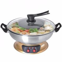 EuropAce ESB7421S 4.0L Electric Steamboat with BBQ Grill(Gold)