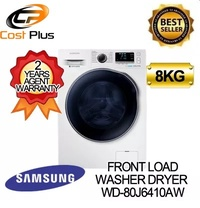 SAMSUNG WD80J6410AW WASHER DRYER WD80 Combo with EcoBubble 8KG [2 YEARS PARTS + 11 YEARS MOTOR AGENT WARRANTY]