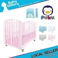 Puku Baby Wooden Crib Foldable Baby cot / Baby Mattress
