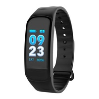 C1S Smart Sport Band Fitness Activity Tracker Smart Bracelet Watch Heart Rate Monitor Color Screen 3D Dynamic UI Waterproof Bloo-d Pressure Test Step Counter