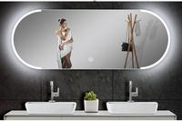智慧浴鏡防霧鏡圓弧led燈鏡現代壁掛浴室鏡子防霧衛生間鏡帶燈衛浴鏡無框貼牆全館免運!~`