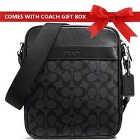 Coach Men Crossbody Bag Flight Bag In Signature Men Crossbody Bag Charcoal / Black # F54788 + Gift Receipt