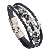 Bang Vintage seta Anchor tudded urfereather Cuff Braceset Back - intl