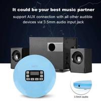 Sweatbuy LCD Portable AUX CD Player + Headphone for MP3/CD/CD-R/CD-RW Disk Light Blue EU Plug