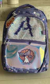 Smiggle backpack for girls. Mermaid. Purple. Reversible. Sewuins. Brand new. Authentic.