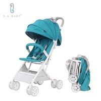 【L.A. Baby】隨行迷你嬰兒手推車(藍)