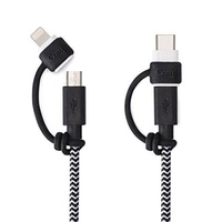 LightningCozy Leash for Micro USB to Lightning Cable, or Micro USB to USB-C, Never Lose an Adapter Again (Black)