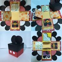 米奇禮物盒/機關卡片/情人節卡片/生日卡片/手工卡片/聖誕卡片/交換禮物