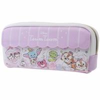 〔小禮堂〕迪士尼 TsumTsum 皮質拉鍊筆袋《紫白.扭蛋殼》鉛筆盒.化妝包.收納包