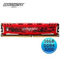 Micron Ballistix Sport LT 競技版 DDR4 3200/ 16GB RAM 超頻記憶體 紅色