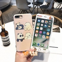 We Bare Bears  iPhone X Casing set 8 / 7 / 6S / 6 Plus Phone Case Back Cover Protector Ice Bear set