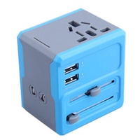 WTA-608 Multifunction Universal Dual USB Travel Charger Converter Adapter Plug