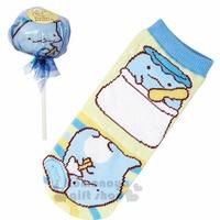 〔小禮堂〕角落生物 恐龍 成人及踝襪《藍.棒棒糖》22-24公分.棉襪.短襪.隱形襪
