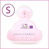 asdfkitty可愛家☆KITTY吸盤式肥皂架/S號-香皂盤-亮草莓版-可放菜瓜布-韓國製