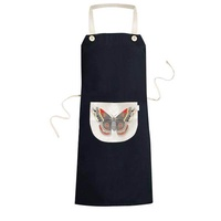 3D Kite Butterfly in Chinese Style Cooking Kitchen Black Bib Aprons With Pocket for Women Men Chef Gifts - intl