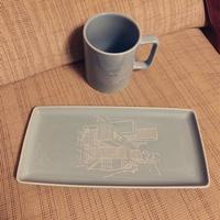 全新 陶瓷杯碟套組附盒 淺藍色 (2019 台開股東會紀念品)