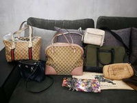 Coach, Kate Spade, Gucci, Burberry, Jimmy Choo, Tod's bags/clutches