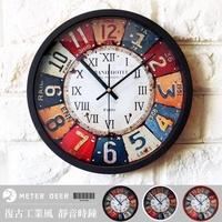 loft工業風掛鐘 復古流行鐵皮掛畫造型靜音時鐘 立體鉚釘羅馬數字配色壁鐘 現代店牆面設計個性裝飾品味時鐘