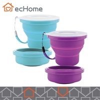 ecHome 220ML Foldable Cup Food Grade Silicone Travel Camping Hiking Blue