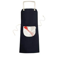 Traditional Chinese Kite Octopus Pattern Cooking Kitchen Black Bib Aprons With Pocket for Women Men Chef Gifts - intl