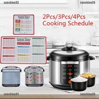 Cooking schedule magnetic cheat sheet food cooking for instant pot accesso