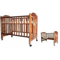 附嬰兒床墊大床安全無鉛漆無毒烤漆實木床欄杆可調與成長側板成長型組合實木嬰兒床原木