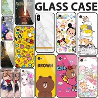 2018 Cartoon tempered glass case cover for iPhone X 8 7 6 6S Plus OPPO R11S R11 R9S R9