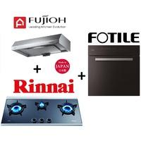 FUJIOH FR-FS1890 SLIMLINE HOOD + Rinnai RB-3CG 3 Burner Built-in Hob + FOTILE KSG7003A 70L MULTIFUNCTION BUILT-IN OVEN