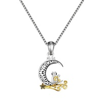 European and American retro moon pendant necklace E-commerce hot animal necklace chain moon cat Thai silver necklace