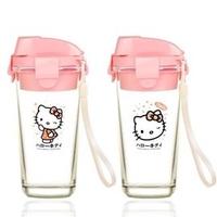 ♥篠崴の夢♡Kitty 樂扣 玻璃杯 玻璃瓶 隨手杯-兩款~450ml