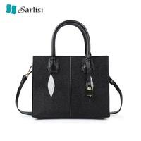 【Sarlisi】MK同款真皮珍珠魚皮包手提包黑色中包