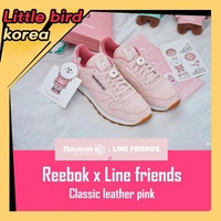 Reebok x Line friends classic leather sneakers [Limited edition] Pink color - intl