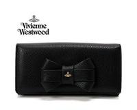 Vivienne Westwood (黑色) 立體蝴蝶結真皮兩摺長夾 皮夾 錢包  100%全新正品 特價